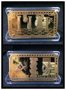 Atacado 50 pcs Maçônica Maçônica Símbolo Magnificen Barras de Ouro Banhado A Ouro 1 oz Bar Lembrança Presente Itens Maçônicos 2017 Nova chegada