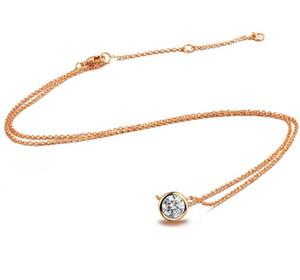 Top Qualité Simple Style Cristal Pendentif Collier Rose Or Couleur Mode Bijoux Cristal Beautyful Nacklace Livraison Gratuite