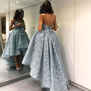 2019 Bola Lace Hi Lo completa vestido Ice Blue Prom Dresses Querida Backless Zuhair Murad Plus Size Cocktail Evening Formal Wear baratos
