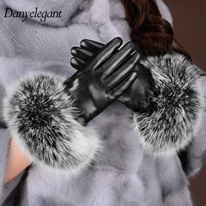 Wholesale- 2017 New Arrival Sheepskin Gloves Women's Winter Thickening Thermal Fur Genuine Leather Touch Screen Gloves