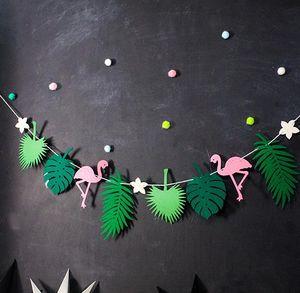 Hawaiian Tropical Flamingo abacaxi bandeira de feltro Summer Party Flag Garland Bunting Natal Wedding noite de galinha do bebê chuveiro dom Decoração