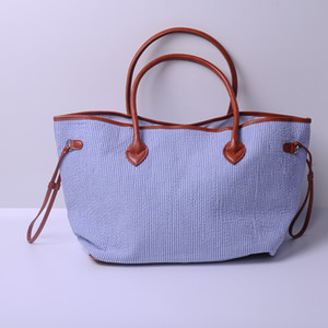 Großhandel Rohlinge Seersucker Baumwolle Neverful Tote Bag Large Capacity Handtasche mit PU-Griff DOM103430