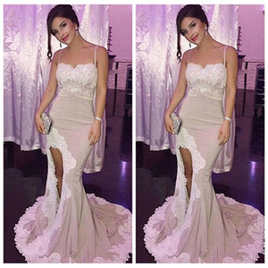 Cheap 2018 Spaghetti Straps Lace Appliques Mermaid Long Prom Dresses Satin Side Split Sweep Train Evening Gowns Holiday Dresses