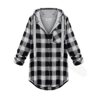 Wholesale- 7993 stilvolle Frauen Girl Hoodie Plaid Jacken-Mantel-Sweatshirt-Oberbekleidung Pullover Pullover