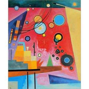 bunte moderne abstrakte Gemälde Wassily Kandinsky Schweres Rot. Öl auf Leinwand handgefertigt Hohe Qualität