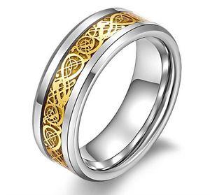 Ne se fanant jamais 8mm or Dragon tungstène carbure Bague en argent Mens bijoux de mariage en gros Livraison gratuite