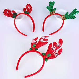 Deer Head Hoop Weihnachtsfeier Haarband Weihnachtsmann Glocke Red Antler Head Buckle Geschenke Party Dekoration Lieferungen