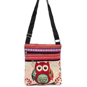 2017 새로운 패션 귀여운 아이 수 놓은 올빼미 메신저 가방 여자 미니 어깨 가방 여자 여성 빈티지 귀여운 전화 크로스 바디 포스트 가방