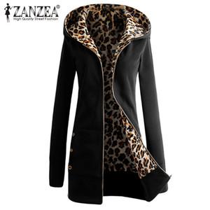 Großhandels- ZANZEA Plus Größe Fashoin Herbst Winter Frauen Hoodies Mantel 2017 beiläufige Leopard Schwarz Grau Lange Jacken Mäntel Slim Outwear