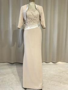 Meilleure vente! Nouvelle colonne longue Champagne mère de la mariée robes avec veste 3/4 manches bretelles perle dentelle en mousseline de soie robes de soirée sur mesure