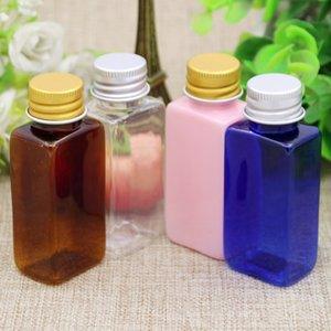 100PCS 30ml bottiglie quadrate in PET cosmetico vuote con tappo in alluminio piccolo contenitore di plastica Contenitori per imballaggio cosmetici