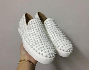 Cuoio bianco di buona qualità a spillo La scarpa bassa rossa con bottoni e scarpe basse per il tempo libero per uomo e donna moda sneakers35-46 spedizione gratuita