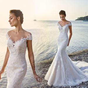 Fabuleux New Sexy Sirène Plage Robes De Mariée 2017 Scoop Cou Cap Manches Cour Train Dentelle Tulle De Mariée Robes Robe de mariage