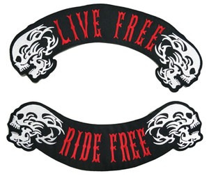 LIVE FREE RIDE FREE ROCKER MC 바이커 패치 사용자 정의 대형 자켓 조끼 배지 40cm 무료 배송