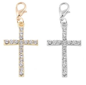20PCS lot Silver Gold Plated Crystal Cross Floating Pendant Charms Fit For Magnetic Floating Locket Jewelry Making
