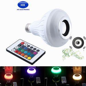 Frete Grátis DHL Hot Sem Fio Bluetooth 6 W LED Speaker Lâmpada de Áudio Speaker LED Música Tocando Iluminação Com 24 Teclas E27 Controle Remoto 20 pcs