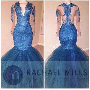 African Blue Tüll Mermaid Prom Kleider 2K17 Lange V-Ausschnitt Pailletten Sheer Illusion Tüll Langarm Formale Abendkleider Günstige Party Kleid