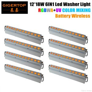 Freeshipping 8XLOT Commercial LED Wall Wash Light 12*18W RGBWA UV LEDs White Case Aluminum Housing 6in1 Linear Color Changing