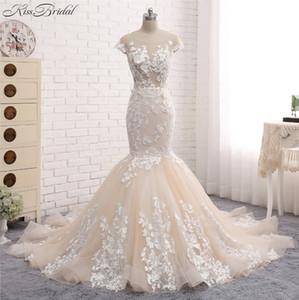 Новое сексуальное длиннее свадебное платье совок шеи без рукавов Часовня Поезд Аппликация Кружева Тюль Китай Свадебные платья Платье де Noiva