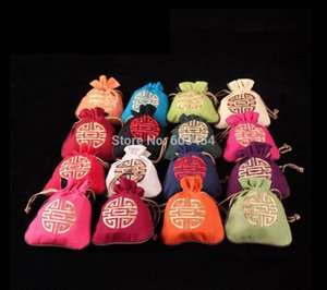 Wholesale cheap New 100PC Mix Chinese Style Wealth Fortune Flax Jewel Gift Candy Bags