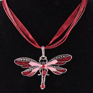 Libélula do vintage de Cristal Pingente de Colar de Corda de Renda Colar de Mulheres Declaração Colares 6 Cores Bronze Retro Jóias