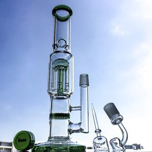 """흡연 파이프 10035 12 """"직선 튜브 유리 기억 만 4mm 두꺼운 봉으로 Honycomb 퍼크 두 기능 담뱃대를"""