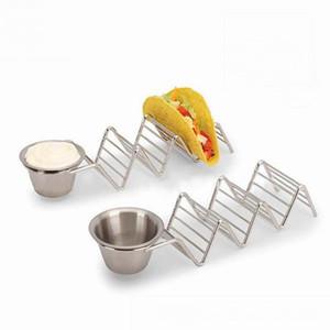 Großhandel 23 * 6 * 4 Cm Lebensmittelhalter Taco Halter Taco Rack Edelstahl Taco Ständer Mit Saucenbecher 3 Hartschalen Tacos