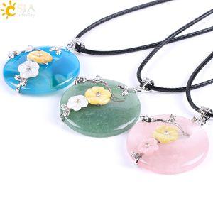 CSJA Reiki Hollow Jade Ronda Natural Healing Crystal Piedras Preciosas Colgante Cuerda Collar Madre de Perla Shell Encantos de La Flor de La Joyería E688 A