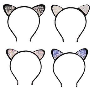2017 Yeni Moda Kafa Kristal Rhinestone Kedi Kulaklar Hairband Şapkalar Kadınlar Için Sevimli Kız Başkanı Aksesuarları