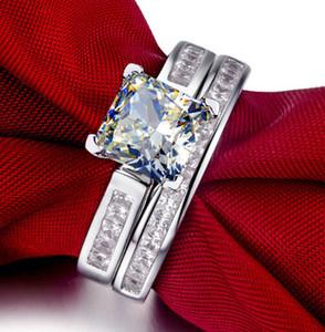 Высокое качество ForeverBeauty 1ct Принцесса Cut Diamond свадебные наборы кольцо с твердые стерлингового серебра 925 женщин обручальные кольца