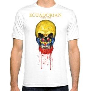 Équateur drapeau de crâne New Fashion Man T-Shirt Coton O Cou Hommes À Manches Courtes Hommes Tshirt Homme Tops Tees En Gros