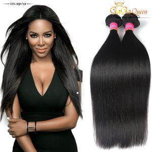 Волосы девственницы ферзя Gaga бразильские прямые 3 пачки выдвижения человеческих волос 8A бразильских человеческих волос соткут цвет пачек естественный
