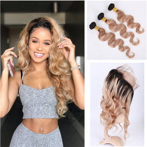 Two Tone 1B / 27 Honey Blonde Ombre 360 ​​Frontal Full Lace con 3 pacchi Body Wave Strawberry Blonde Ombre Brasiliano Capelli Umani Tesse
