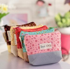Bayanlar Ucuz Tuval Sevimli Çiçekler Küçük Değişim Sikke çanta Küçük Anahtar Araba Kılıfı Para Çantası, kızın Mini Kısa Para Cüzdan