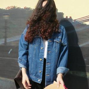 الجملة الرياح الخريف والشتاء المرأة الدينيم سترة المعتاد فضفاضة الإناث الجينز معطف الصلبة سليم chaquetas موهير