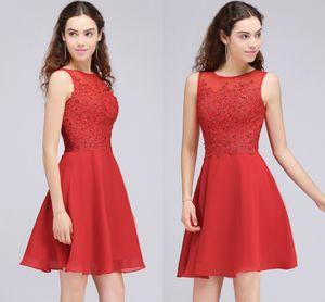2018 New Red Appliqued Perlen Short Homecoming Kleider Mini Cocktail Formale Kleider Real Image Designer Gelegenheit Kleider CPS702