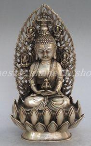 Elaborate la collezione d'argento tibetano cinese Sakyamuni Buddha