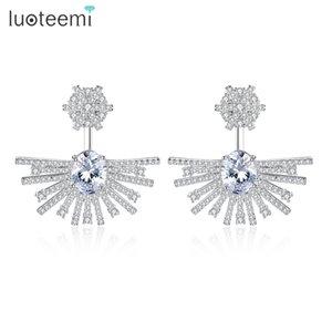 Bijoux de luxe Boucles d'oreilles lustre avec Cubic Zircon Drop Boucles d'oreilles pour les femmes Dangle Wedding Boucles d'oreilles en gros LUOTEEMI