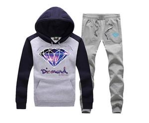 Diamond Supply Co moletom com capuz roupas homens diamantes suores de hip hop moletom com capuz marca nova camisola dos homens roupas de moletom com capuz + calças