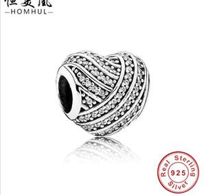 2017 Promotion réelle authentique 925 Sterling Silver Charm Beads Fit Pandora Bracelet DIY Full Diamond Heart Blanc CZ Bracelet Bijoux