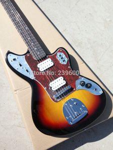 Ponte costume Jazzmaster luxo Sunburst Jaguar guitarra elétrica Turtle Red Shell Pickguard bordo pescoço Rosewood Fingerboard Dot embutimento Tremolo