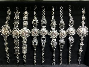 All'ingrosso Top 10pcs Lots Vintage Snap da donna Charm Crystal Bracelet fai da te Ginger Snaps Jewelry Fit 18mm Snaps Button Mix Style