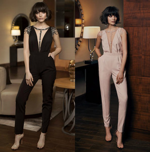 Beaded Evening Guest Pants Mordern Illusion Runway Fashion Cap Sleeve Pant Suit Ankle Length Jumpsuits With Pockets
