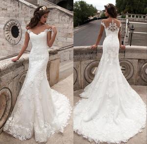 Cheap 2019 Plus Size Mermaid Abiti da sposa Scoop Neck Appliques Manica corta Pizzo Vestido De Noiva abiti da sposa senza maniche CPS542