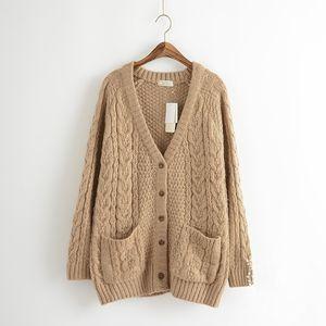 Al por mayor-Japonés Mori Girl Vintage Harajuku Hippie Boho bohemio Retro con cuello en v Mohair Chandail Femme Mujeres otoño invierno suéter Cardig