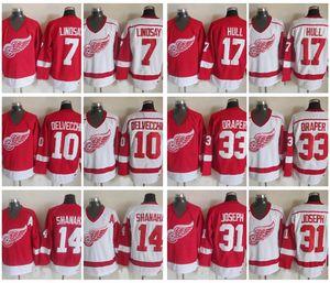 Vintage Detroit Red Wings 7 Ted Lindsay 10 Alex Delvecchio 33 Kris Draper 31 Curtis Joseph 14 Brendan Shanahan 17 Hull Hockey Jersey