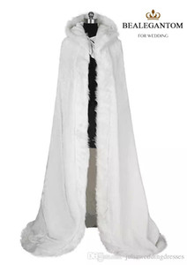 2018 White Bridal Wraps Jacket 겨울 모피 여성 자켓 신부 바닥 길이 망토 긴 파티 웨딩 코트