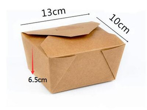 Disposable Boxes Kraft Paper Box Take out Foldable boxes high quality packing boxes free shipping 450pcs carton