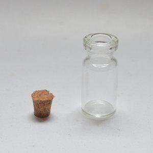 Piccolo flacone da 2 ml in vetro chiaro e chiaro Bottiglia da messaggio in vetro chiaro con tappo in sughero, mini contenitori
