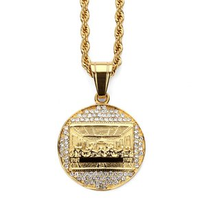Les femmes en acier inoxydable Jésus hommes La dernière Cène collier pendentif en strass Hip Hop Round Fashion Bling Bijoux Vintage